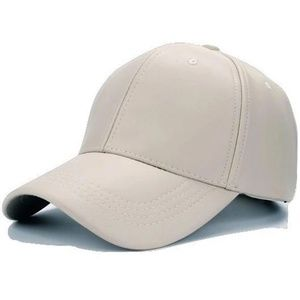 Olive & Pique Faux Leather Cap in Dirty White